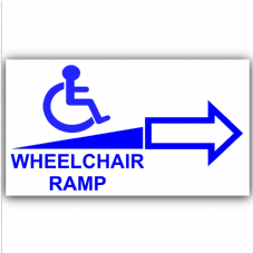 1 x Wheelchair Ramp-Right-Self Adhesive Vinyl Sticker-Disabled,Disability,Wheelchair Sign